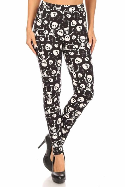 High Waist Fleece Lined Halloween Leggings