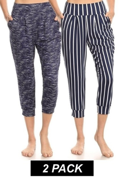 2 Pack Soft Cropped Harem Loose Fit Joggers