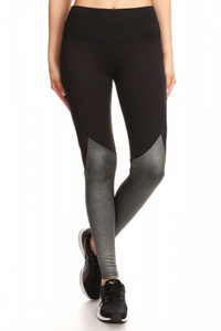 Activewear Leggings Metallic Knit Back Mesh Panels