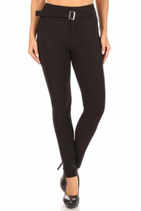 Treggings Skinny Pants With Self Belt And Pockets