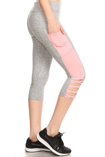 Sports Capris Leggings  Side Cross Straps Pockets