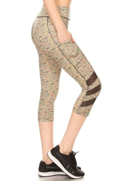 Sports Capri Leggings Side Pockets Mesh Panels