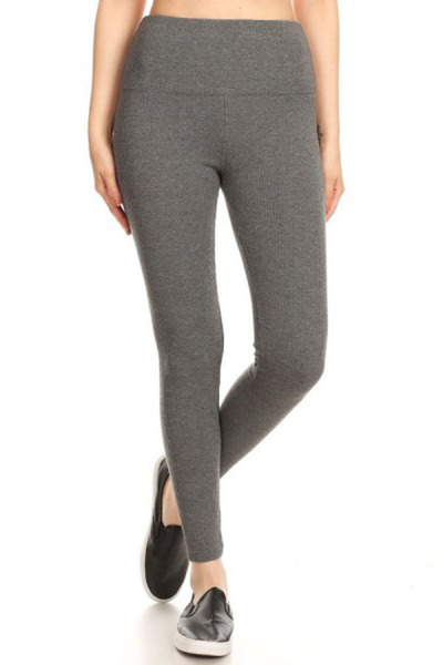 Solid High Waist Thick Rib Knit Leggings