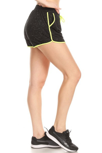 Soft Brush Track Shorts With Waist Tie & Pockets