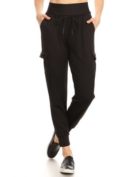 High Waist Double Face Cargo Joggers Sweatpants