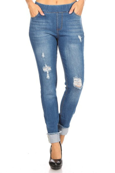 Distressed Skinny Denim Jeans Jeggings Pants With Rolled Up Frayed Hem