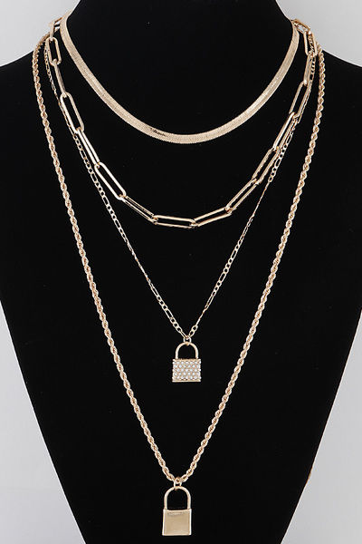 Double Lock Pendant Necklace
