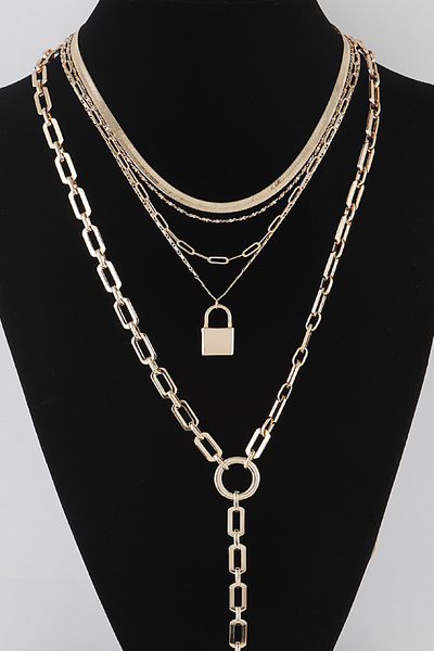 Lock Pendant Multi Necklace