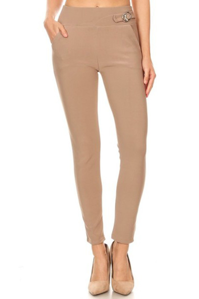 Solid Tregging Skinny Pants With Buckle Waist