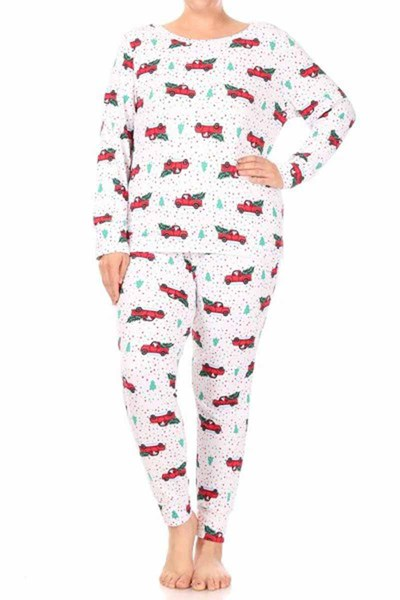 Plus Size 2-Piece Fleece Lined Pajamas Sets