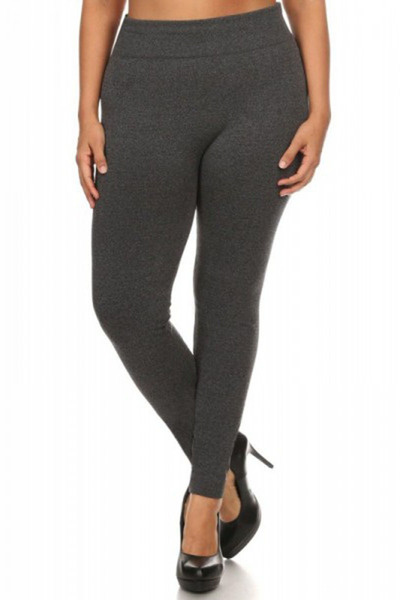 Plus Size Solid Fleece Seamless Leggings