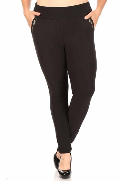 Plus Size Tregging Skinny Pants With Zipper Pockets