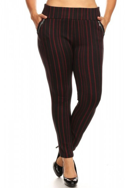 Plus Size Treggings Skinny Pants Zipper Pockets