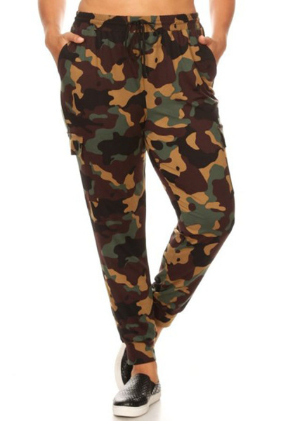 Plus Size Soft Brushed Cargo Joggers Sweatpants