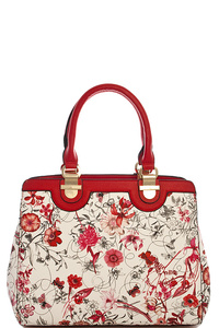 Fashion Princess Flower Print Satchel With Long Strap