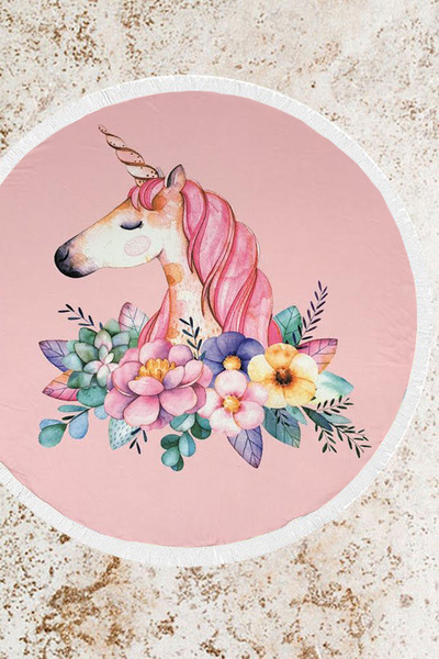 Unicorn Terry Round Beach Towel
