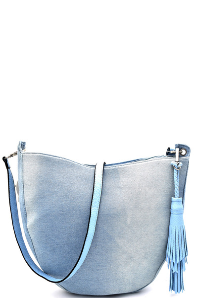Tassel Accent Large Cross Body Hobo