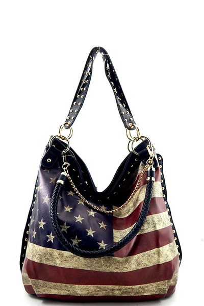 US Flag Print Chain Decorated Hobo Bag