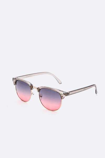 2 Tone Lens Clear Frame Iconic Sunglasses Set