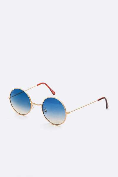 2 Tone Round Sunglasses Set