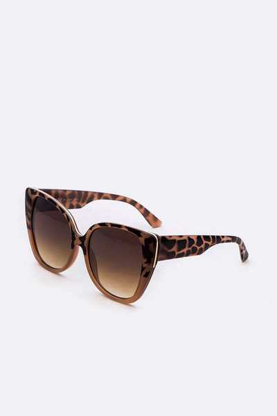 Animal Print Cat Eye Oversize Sunglasses Set