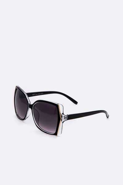 Oversize Clear Frame Dark Tint Sunglasses Set