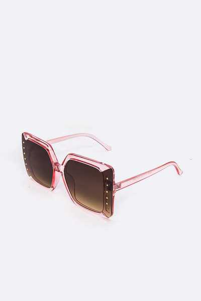 Dotted Accent Oversize Square Sunglasses Set