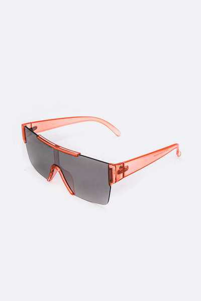 Clear Color Temple Iconic Square Sunglasses Set