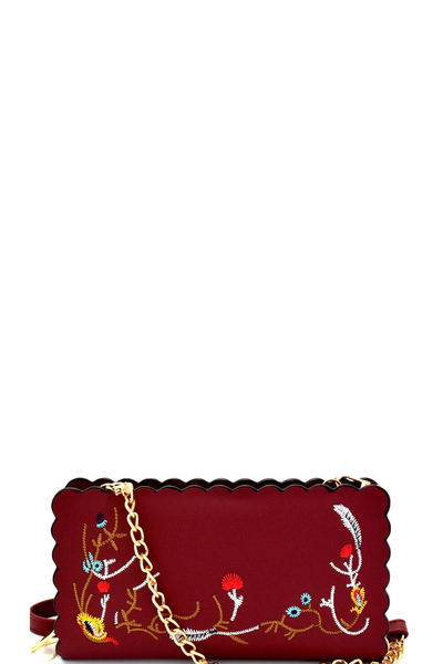 Wavy-cut Embroidered Wallet Cross Body
