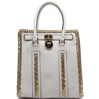 Fashion Chain Trimmed Padlock Tote