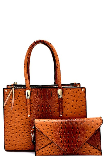 Ostrich Print 2 in 1 3 Compartment Satchel SET