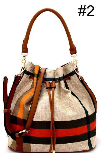 Checker Plaid Print Linen Drawstring Bucket Hobo