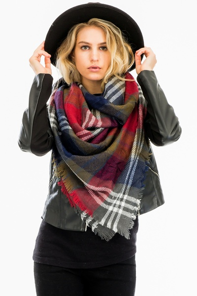 CLASSIC PLAID SQUARE BLANKET SCARF