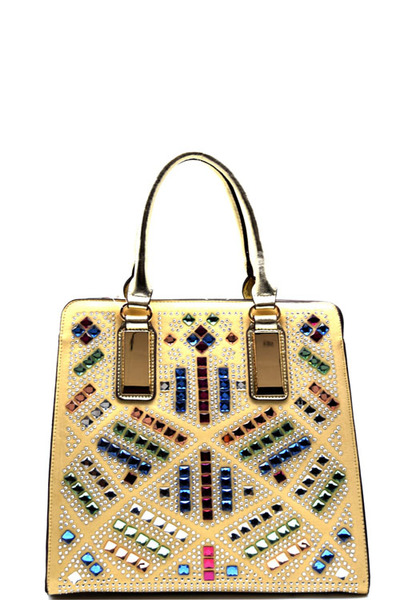 Multi-colored Rhinestone Embellished Hardware Accent Tote