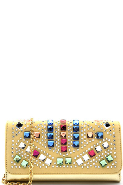 Multi-colored Rhinestone Embellished Trifold Wallet Cross Body