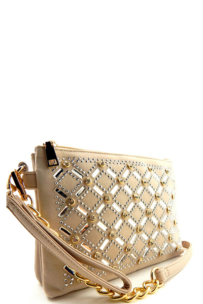 Rhinestone Embellished 2 Compartment Wristlet Shoulder Bag