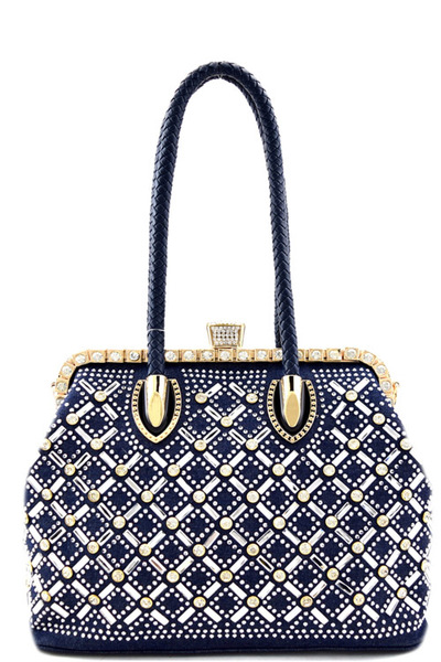 Jewel-top Rhinestone Embellished Frame Satchel