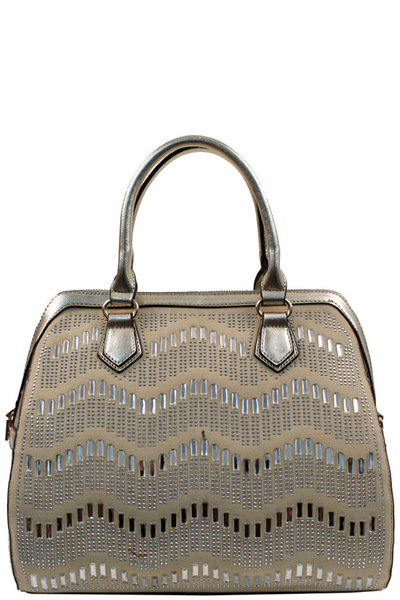 Elegant Mono Tone Colored With Rhinestones Decorated Fashion Handbag