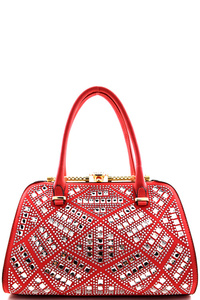 Jewel-top Clutch Rhinestone Embellished Frame Satchel