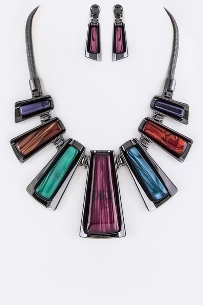 Metal Wrapped Resin Bars Statement Necklace Set