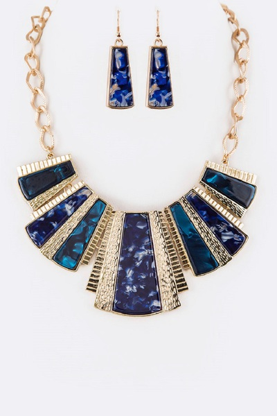 Celluloid Mix Bib Statement Necklace Set