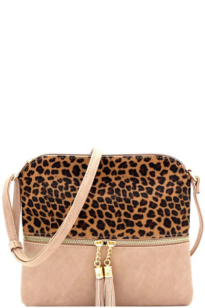 Leopard Print Front Pocket Tassel Accent Cross Body