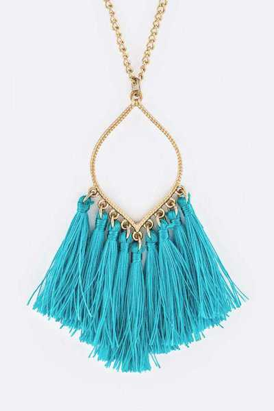 Fringe Tassels Leaf Pendant Necklace