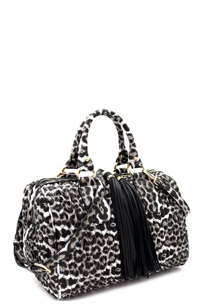 TRENDY LEOPARD PRINT AND DOUBLE TASSEL BOSTON BAG