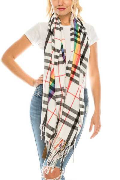 Rainbow Plaid Large Fringe Scarf